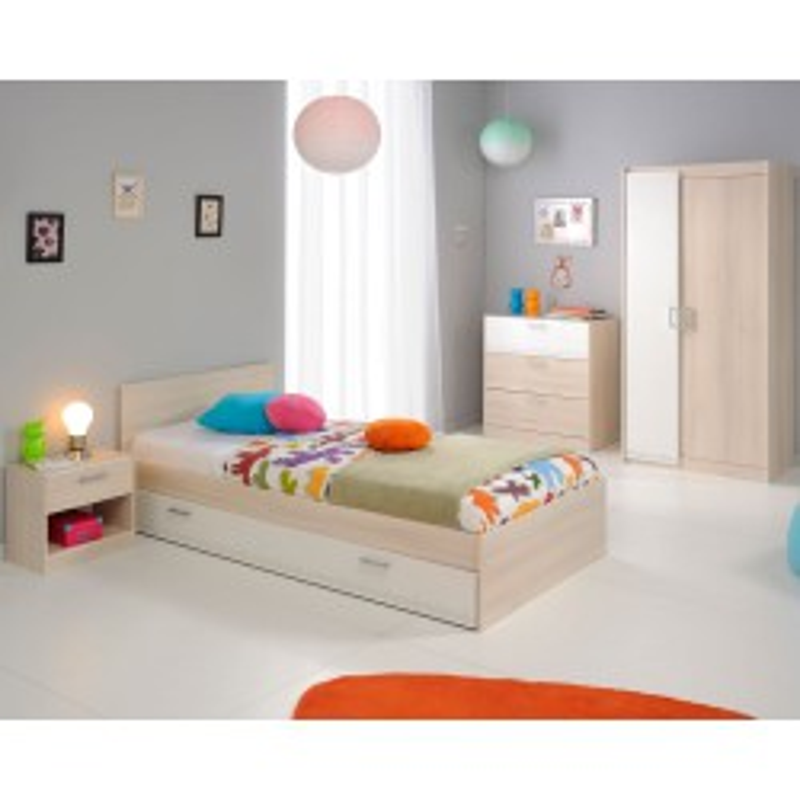 Chambre Enfant Complète (90*190) Acacia clair/Blanc - PRICE