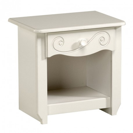 Table de chevet 1 tiroir 1 niche Blanc - ANDREA