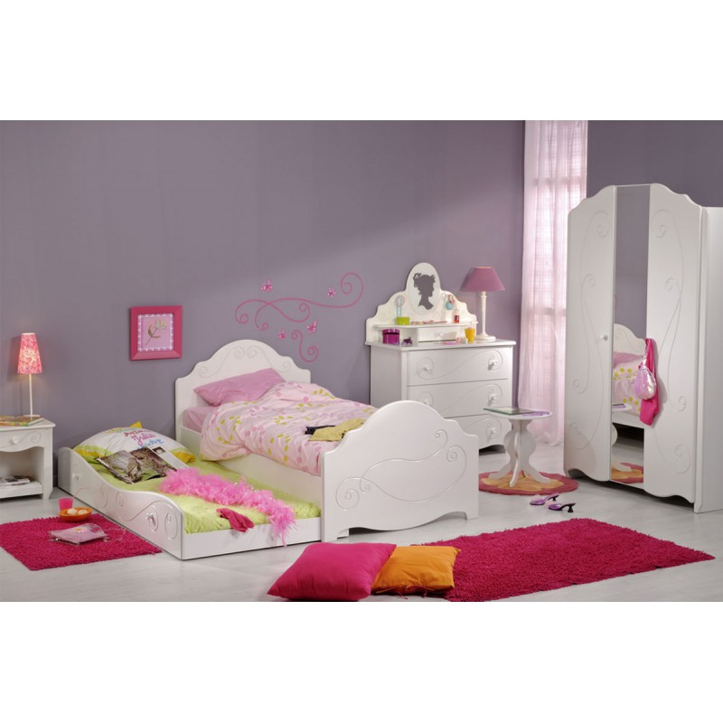 chambre enfant compl te 90 200 bois blanc andrea. Black Bedroom Furniture Sets. Home Design Ideas