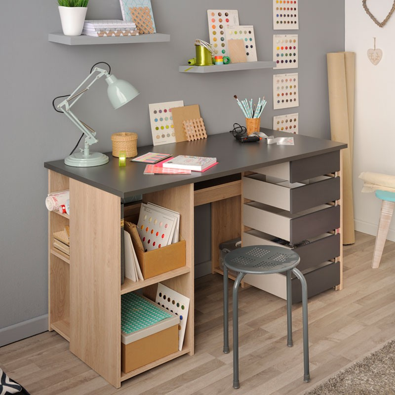 bureau 5 tiroirs pivitants ch ne clair gris clever univers bureau. Black Bedroom Furniture Sets. Home Design Ideas