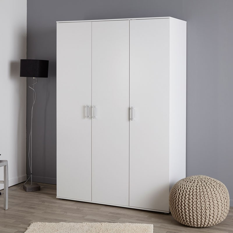 armoire 3 portes bois blanc battantes moderne kalif. Black Bedroom Furniture Sets. Home Design Ideas