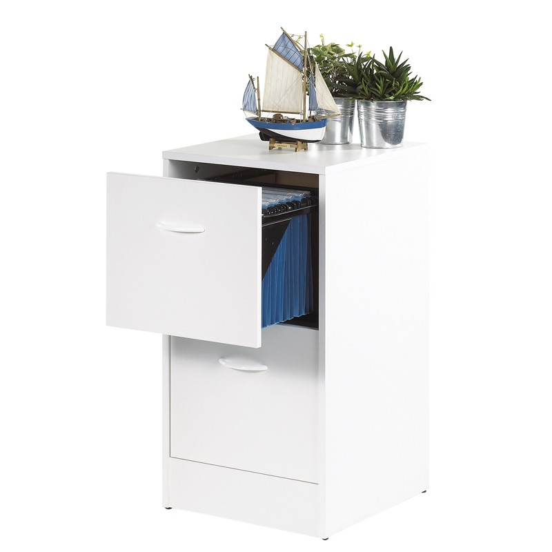 classeur dossiers suspendus 2 tiroirs blanc tirsus univers du bureau. Black Bedroom Furniture Sets. Home Design Ideas