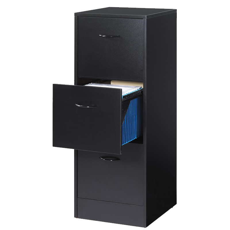 classeur dossiers 3 tiroirs noir tirsus univers du bureau. Black Bedroom Furniture Sets. Home Design Ideas