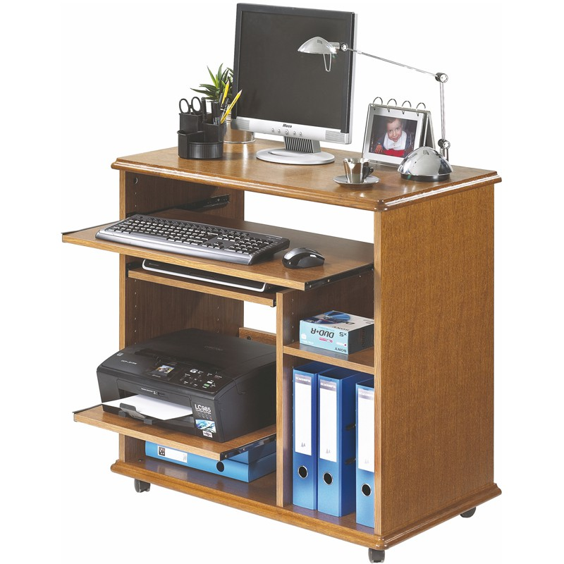 Meuble informatique sur roulettes louiquat univers du bureau for Console informatique bois