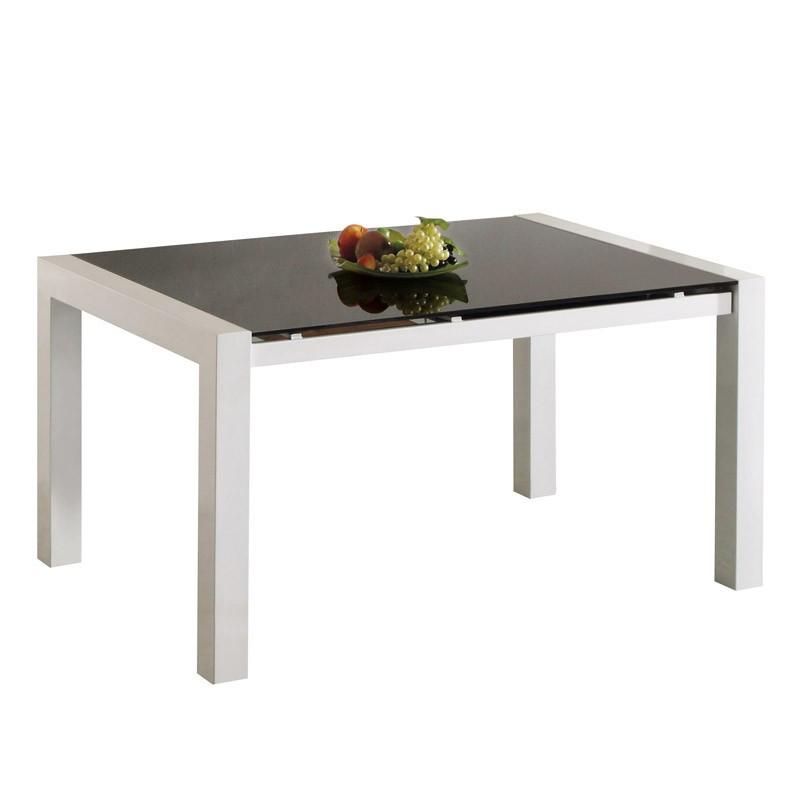 Table de repas à allonge Verre Noir - ALLEN