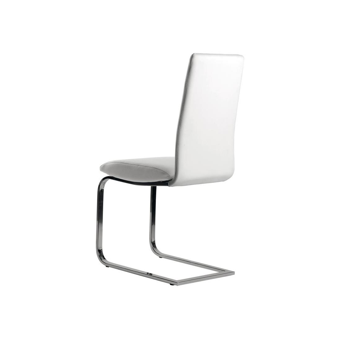 Quatuor de chaises simili cuir blanc tomy univers salle manger - Chaise cuir blanc conforama ...