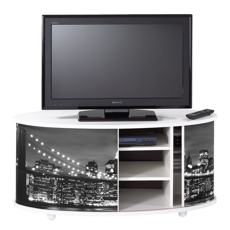 meuble tv blanc rideau coulissant n 1 sprint univers du salon. Black Bedroom Furniture Sets. Home Design Ideas