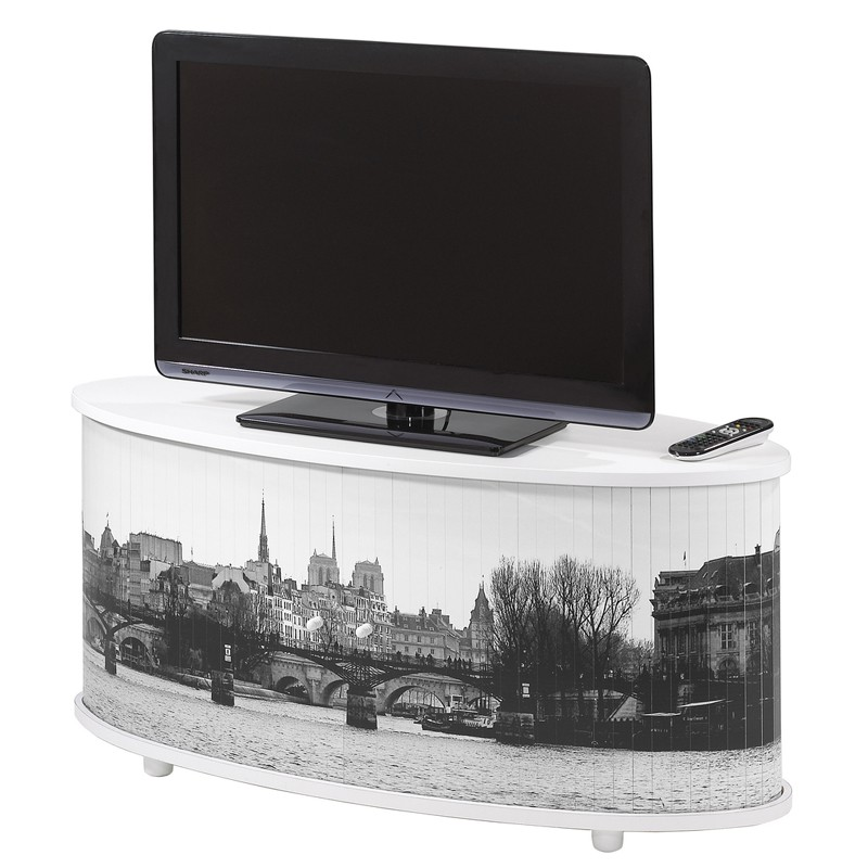 Meuble tv blanc rideau coulissant n 3 sprint univers for Meuble tv coulissant