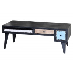 Table basse Noire 3 tiroirs  - AMINE