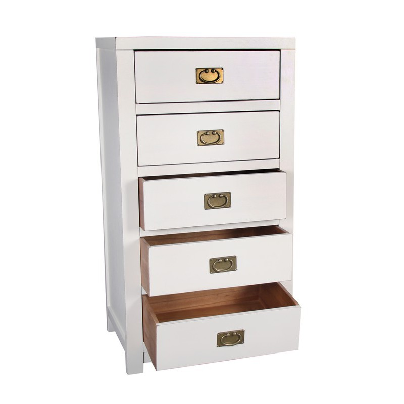 chiffonnier 5 tiroirs laque blanche mekong univers. Black Bedroom Furniture Sets. Home Design Ideas