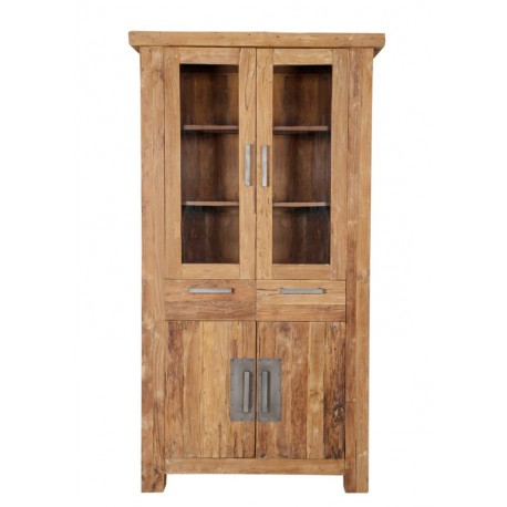armoire vitrine de salon 4 portes 2 tiroirs en teck. Black Bedroom Furniture Sets. Home Design Ideas