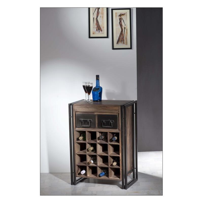 Meuble bar 2 tiroirs avec rack à bouteilles - IPANEMA