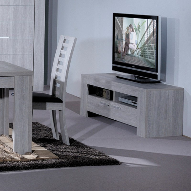 Meuble tv gris clair tahiti univers du salon for Meuble blanc et gris