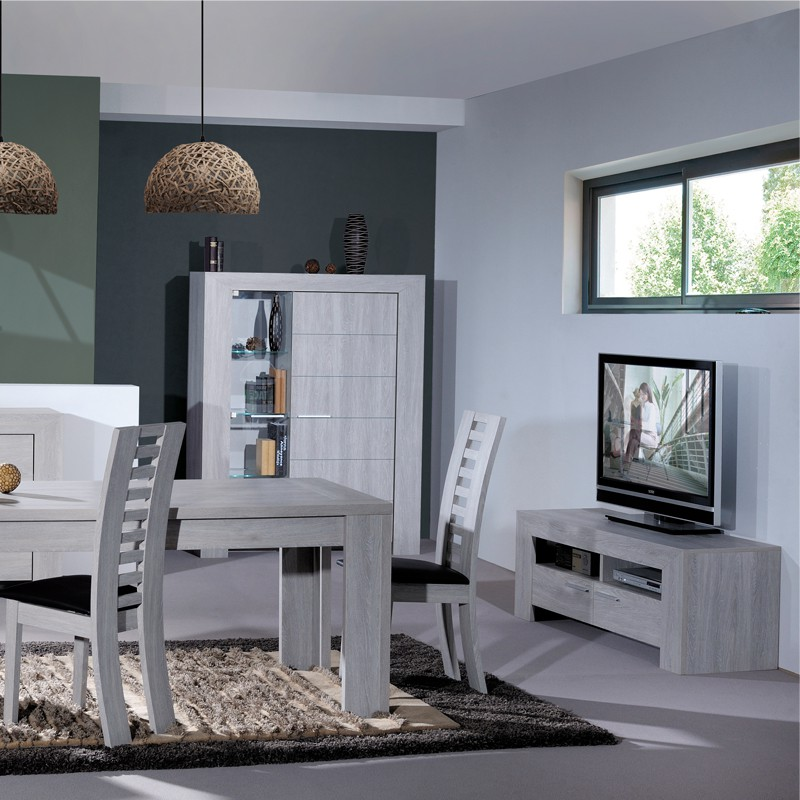 armoire de salon gris clair tahiti univers du salon tousmesmeubles. Black Bedroom Furniture Sets. Home Design Ideas