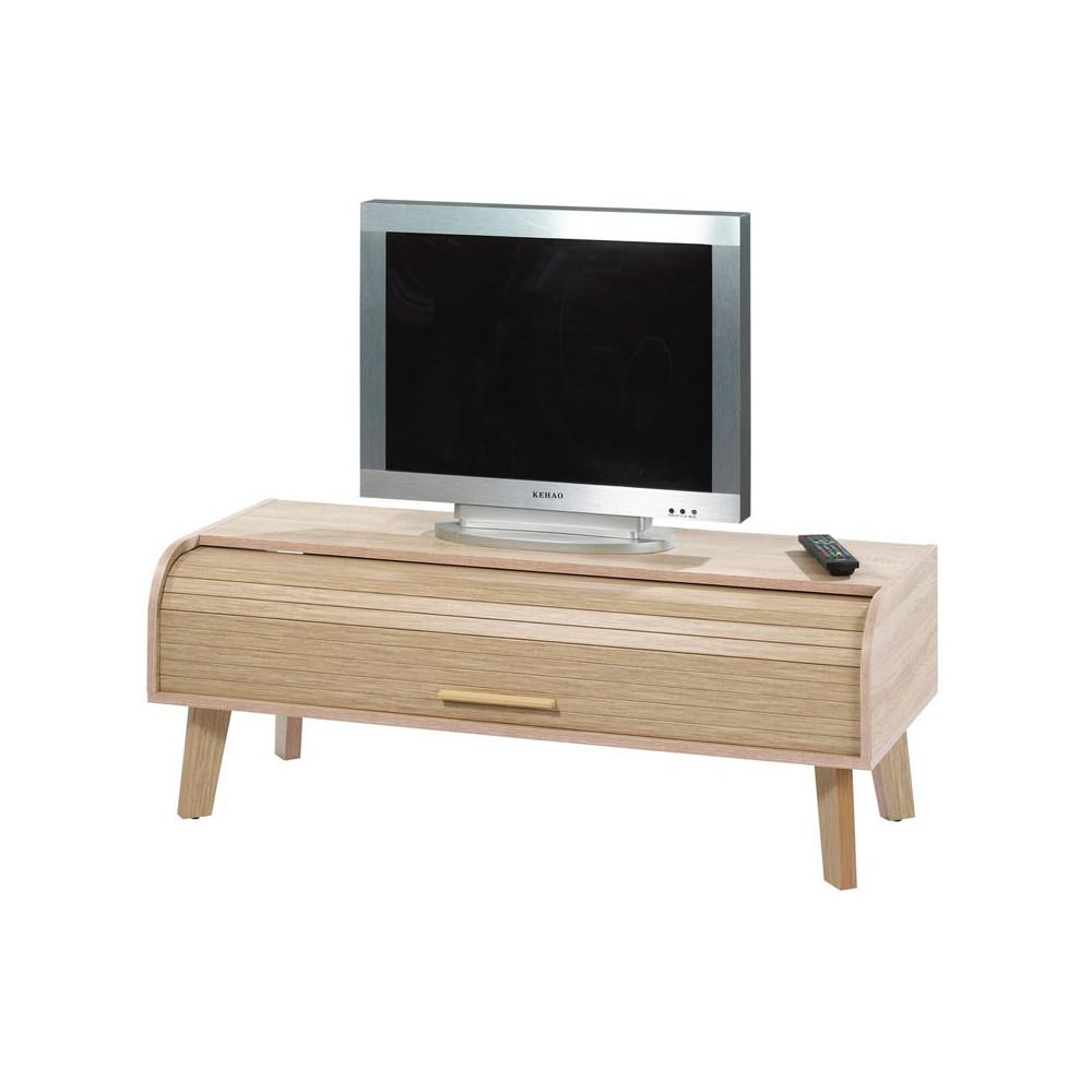 Meuble TV à rideau scandinave ARKOS n°6 - Univers Salon : Tousmesmeubles
