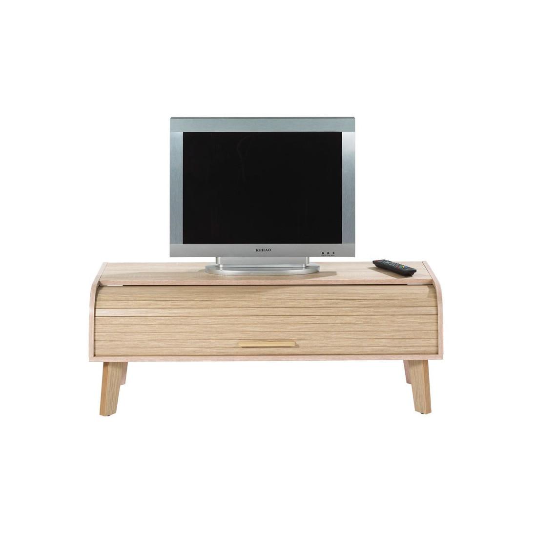 Meuble tv rideau en bois naturel uni arkos n 6 univers du salon - Meuble a rideau ...