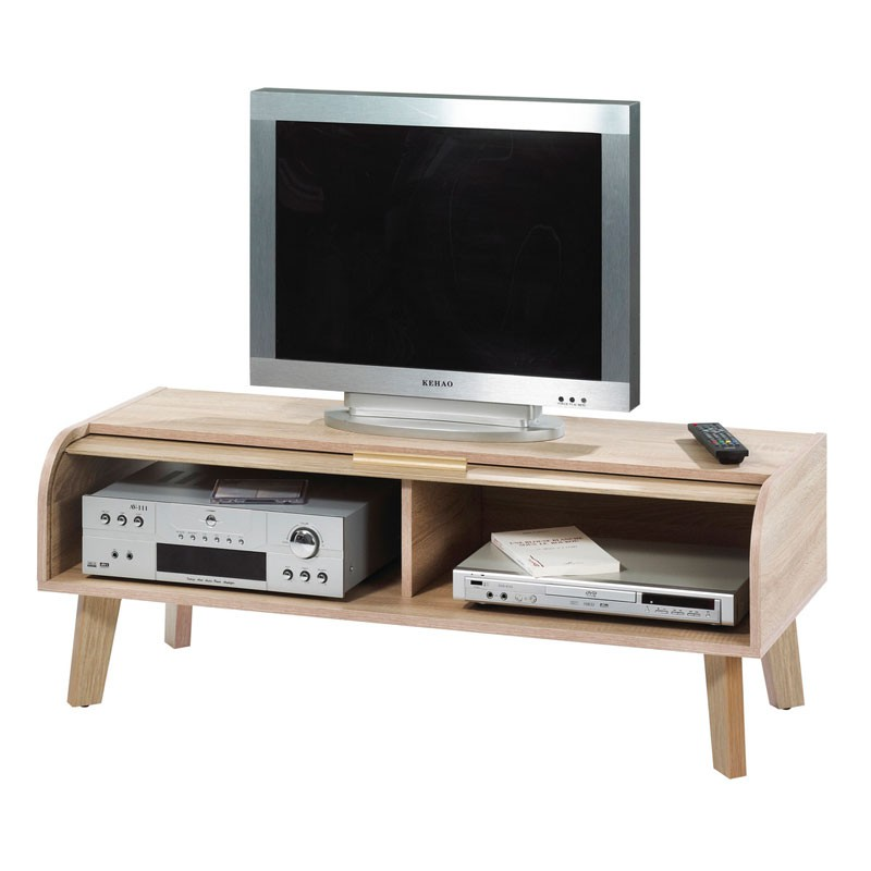 meuble tv rideau en bois naturel uni arkos n 6 univers du salon. Black Bedroom Furniture Sets. Home Design Ideas