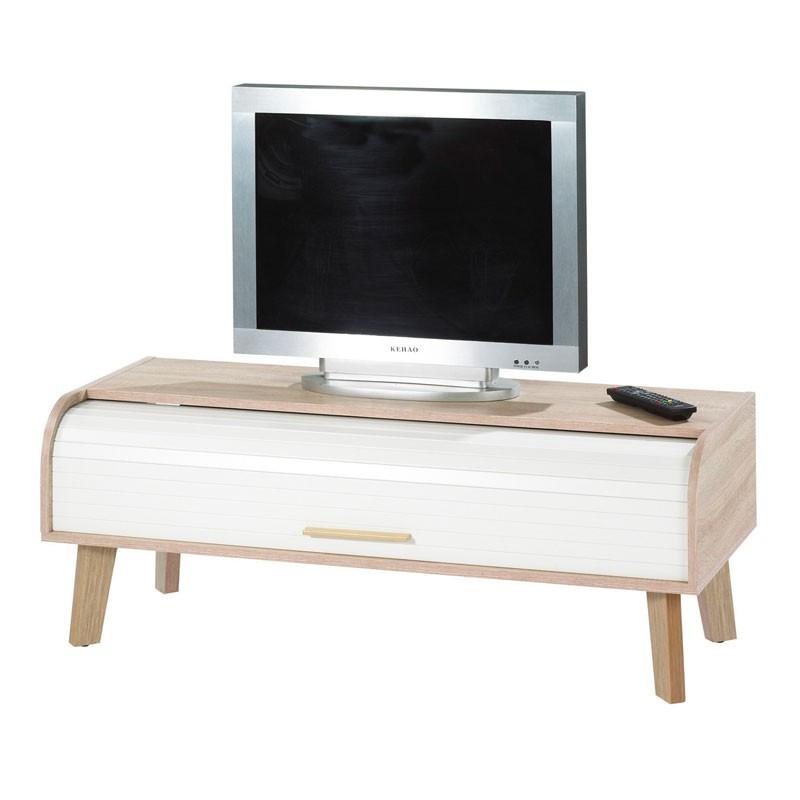 Meuble TV à rideau bois scandinave ARKOS n°5 - Univers Salon : Tousmesmeubles