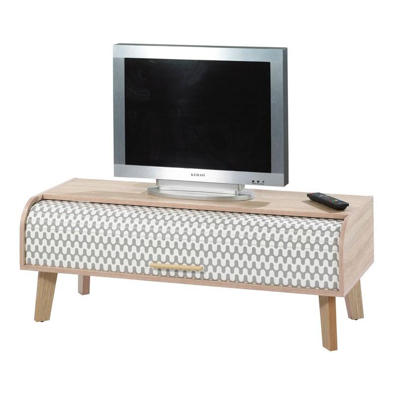 Meuble TV à rideau bois scandinave ARKOS n°4 - Univers Salon : Tousmesmeubles