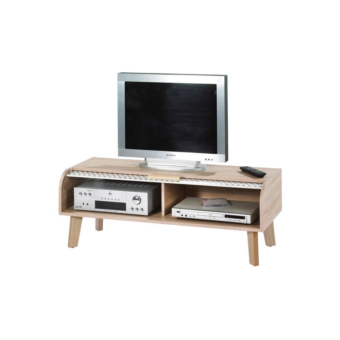 Meuble tv rideau bois et motifs gris arkos n 4 univers du salon - Meuble a rideau ...