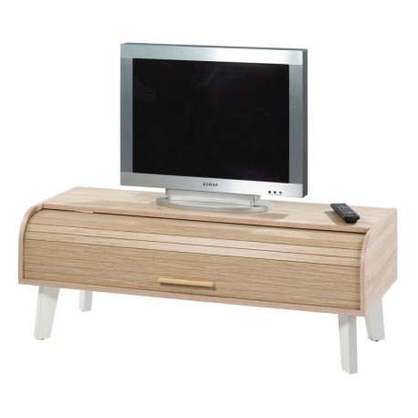 meuble tv rideau en bois pieds et blanc arkos n 3. Black Bedroom Furniture Sets. Home Design Ideas