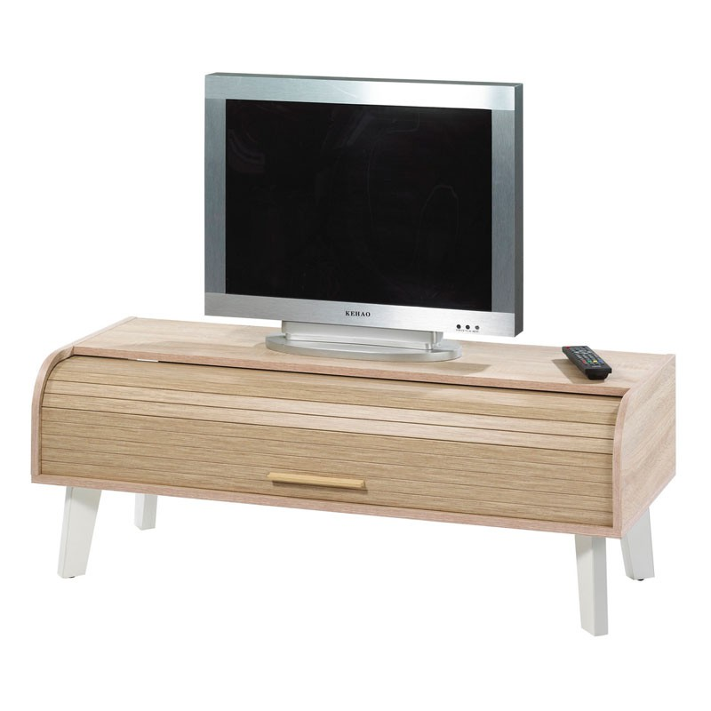 meuble tv rideau en bois pieds et blanc arkos n 3 univers du salon. Black Bedroom Furniture Sets. Home Design Ideas