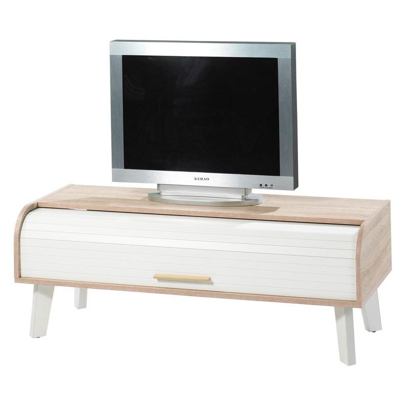 Meuble TV à rideau scandinave ARKOS n°1 - Univers Salon : Tousmesmeubles