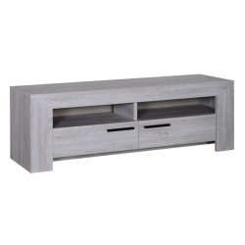 Meuble TV 2 tiroirs Gris clair bois moderne PAPEETE - Univers Salon : Tousmesmeubles