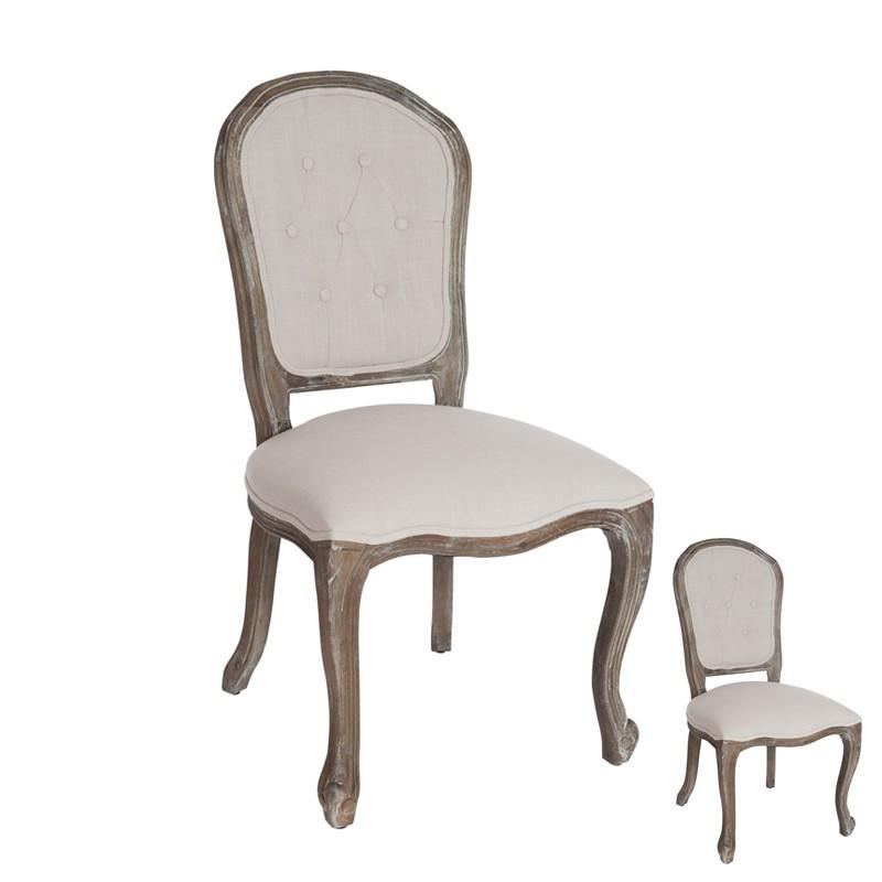 Duo de chaises Régence tissu Ivoire - GLADYS