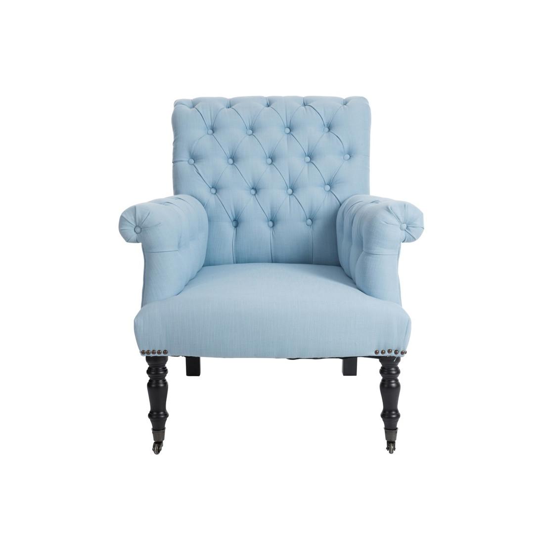 Fauteuil capitonn bleu henriette univers du salon et for Salon avec fauteuil