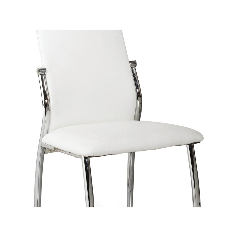 Mobilier table chaises simili cuir blanc for Chaise cuir blanc