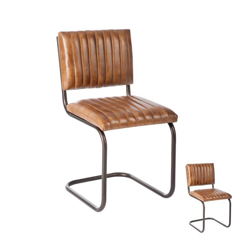 Duo de chaises Cuir Cognac - Univers des Assises : Tousmesmeubles