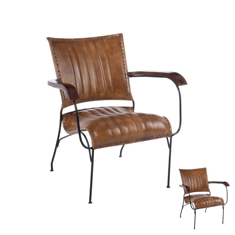 Duo de Chaises à bras rétro Cuir Cognac - Univers des Assises : Tousmesmeubles