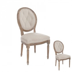 Duo de chaises garnies Louis XVI tissu Beige - MAYFAIR