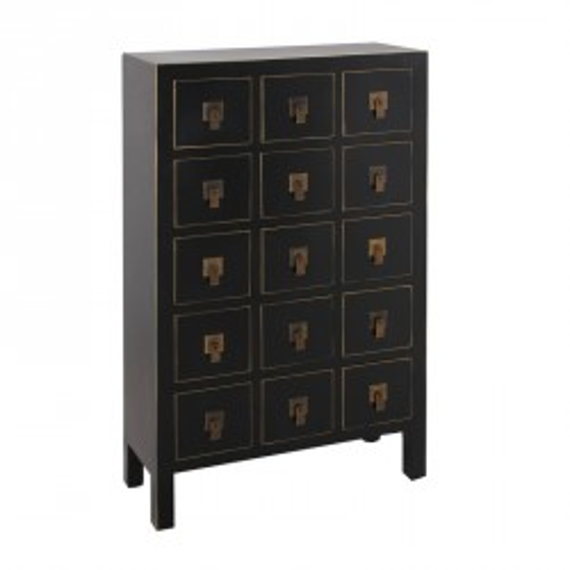 Chiffonnier Noir 15 tiroirs - PEKIN - Univers des Petits meubles : Tousmesmeubles
