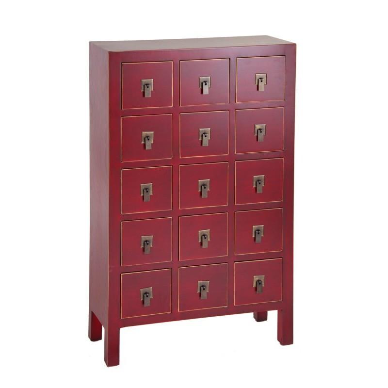 Chiffonnier Rouge 15 tiroirs - PEKIN - Univers des Petits meubles : Tousmesmeubles