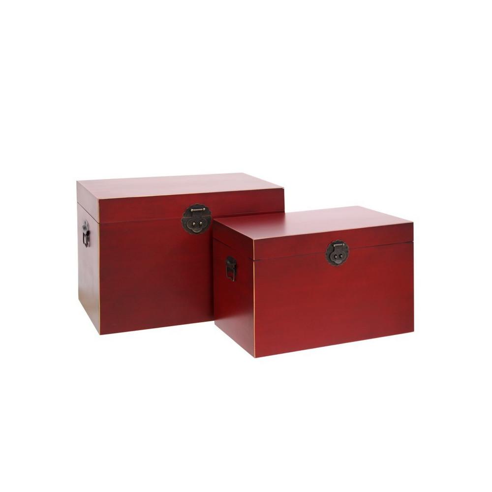 Duo de coffres Rouge - PEKIN - Univers de la Décoration : Tousmesmeubles