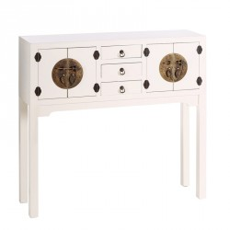 Console 4 portes, 3 tiroirs Blanc - PEKIN - Univers des Petits meubles : Tousmesmeubles