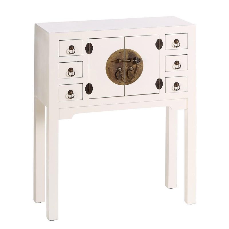 Console 2 portes, 6 tiroirs Blanc - PEKIN - Univers des Petits meubles : Tousmesmeubles