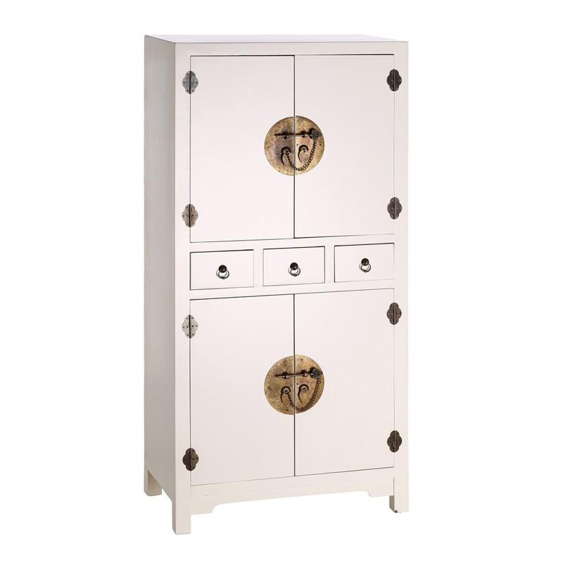 Armoire 4 portes, 2 tiroirs Blanc - PEKIN - Univers de la Chambre et des Petits meubles : Tousmesmeubles
