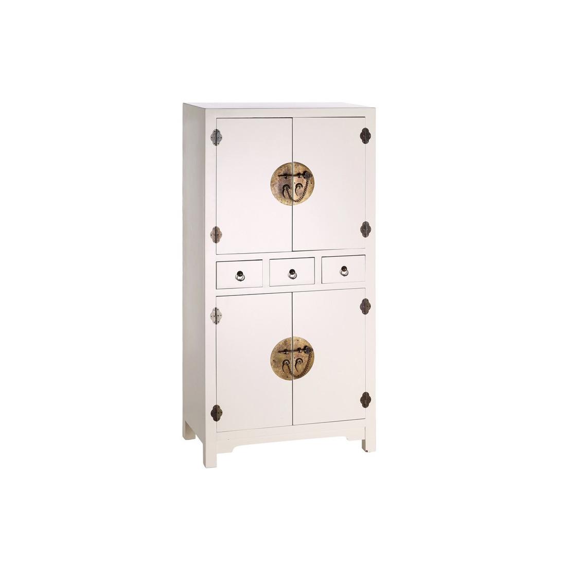 Armoire blanche meuble chinois pekin univers de la chambre for Meuble chinois blanc