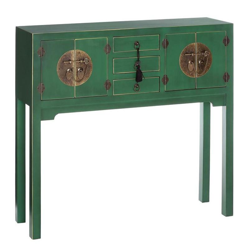 Console Vert 4 portes, 3 tiroirs - PEKIN - Univers du Salon et des Petits meubles : Tousmesmeubles