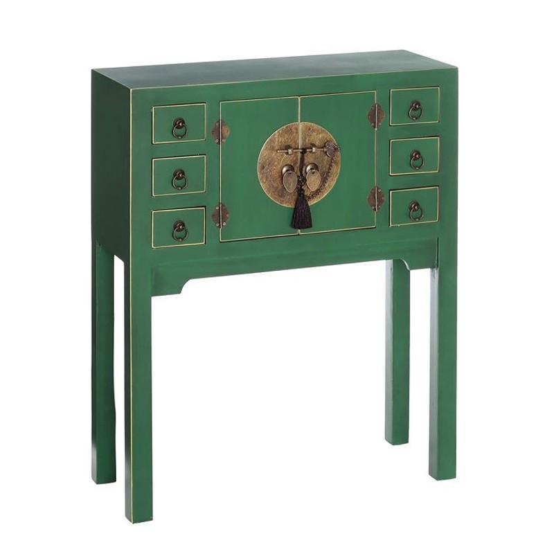 Console Vert 2 portes, 6 tiroirs - PEKIN - Univers du Salon et des Petits meubles : Tousmesmeubles