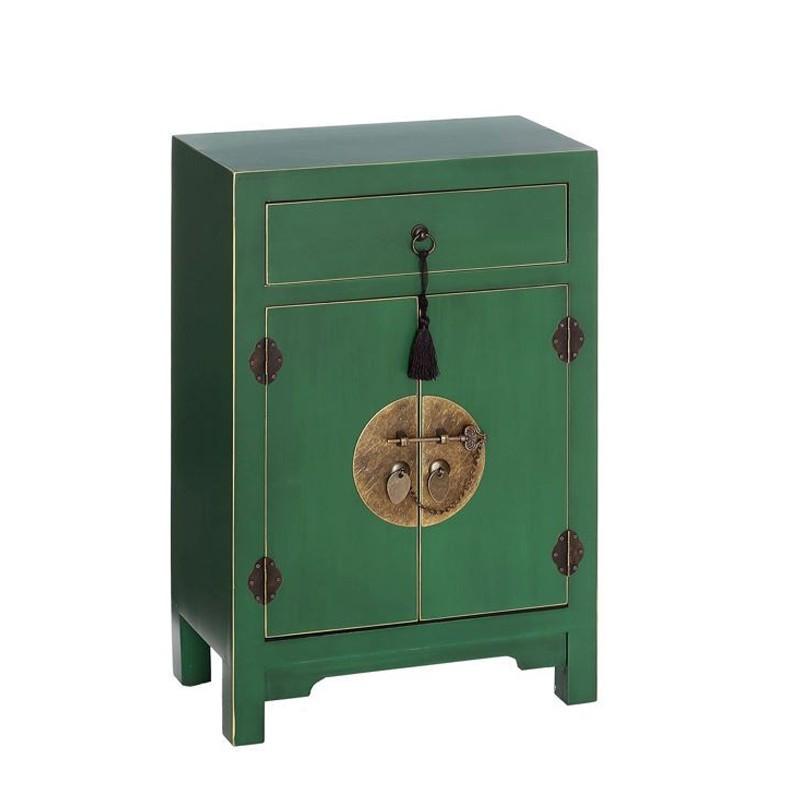 Confiturier 2 portes, 1 tiroir Vert Meuble Chinois - PEKIN