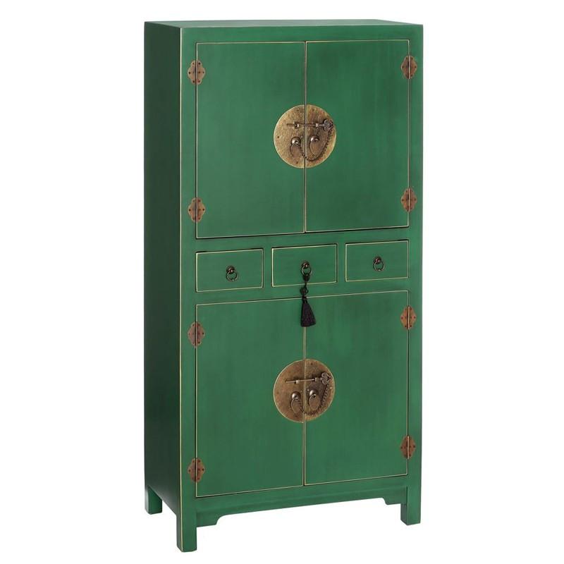 Armoire Verte 4 portes, 3 tiroirs - PEKIN - Univers de la Chambre : Tousmesmeubles