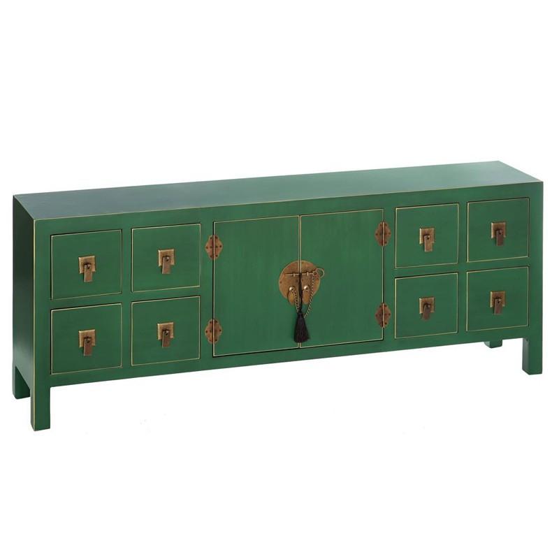 Dos de canapé Vert 2 portes, 8 tiroirs - PEKIN - Univers du Salon et Petits meubles : Tousmesmeubles