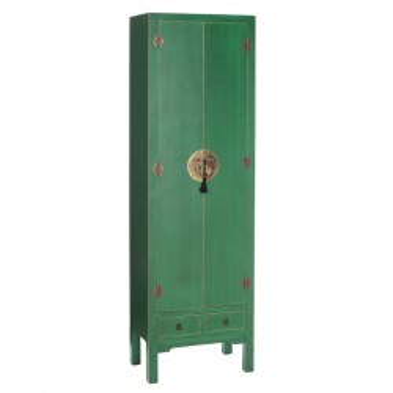 Armoire Verte 2 portes, 2 tiroirs - PEKIN - Univers de la Chambre : Tousmesmeubles