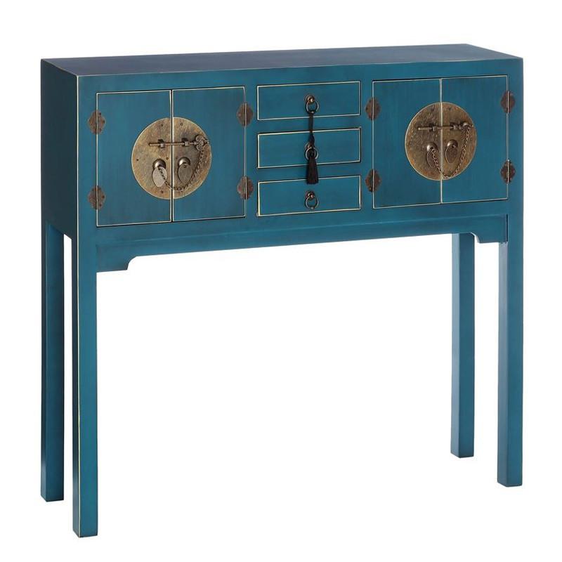 Console Bleue 4 portes, 3 tiroirs - PEKIN - Univers du Salon et des Petits meubles : Tousmesmeubles