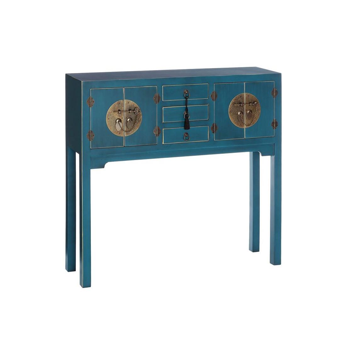 Console bleue meuble chinois pekin univers des petits for Meuble 80 cm de longueur
