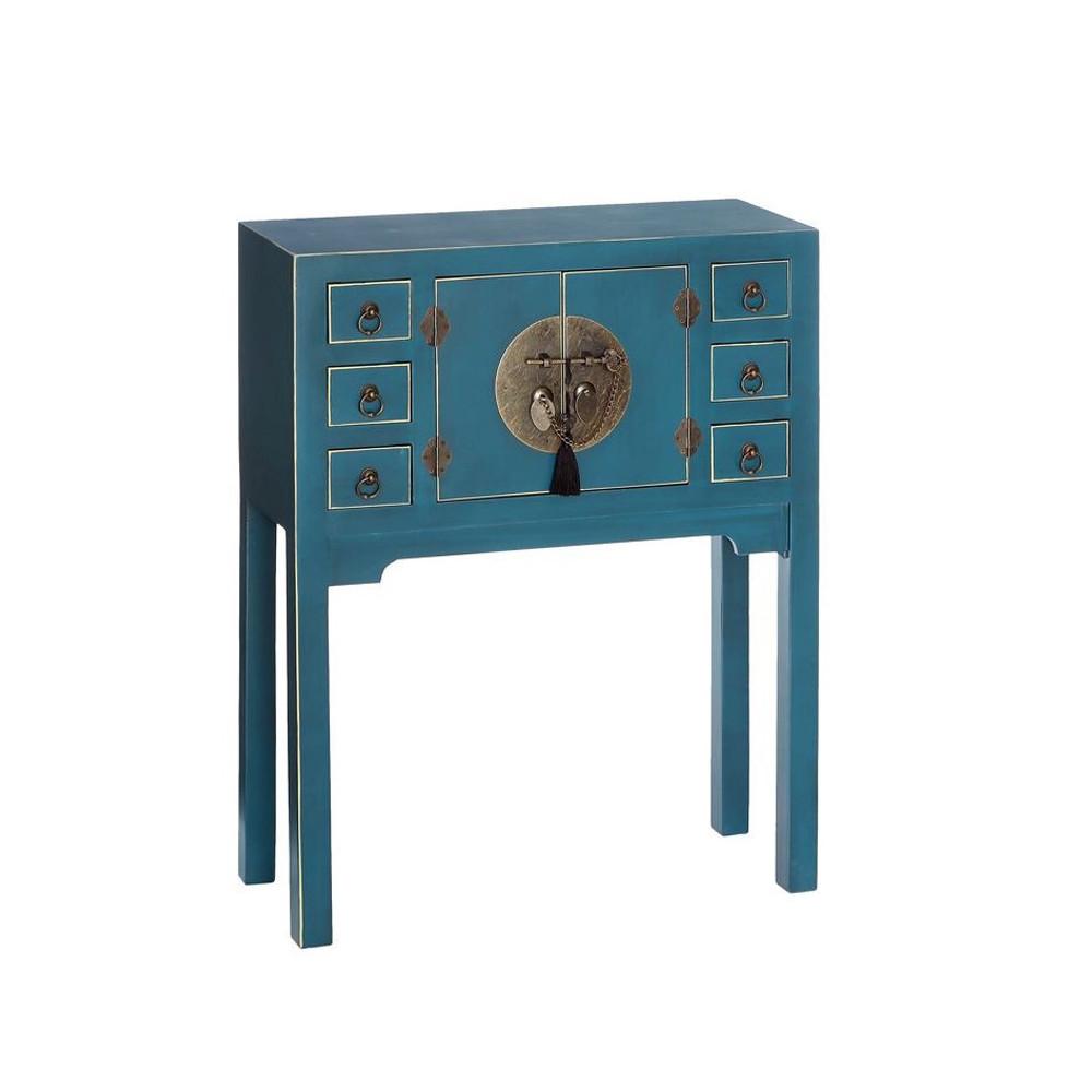 Console Bleue 2 portes, 6 tiroirs - PEKIN - Univers du Salon et des Petits meubles : Tousmesmeubles